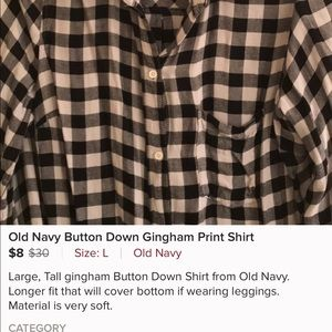 Oldnavy gingham shirt size Tall Large